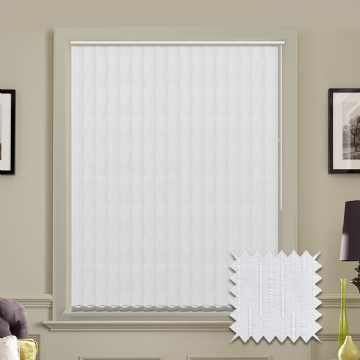 Made to measure vertical blinds in Dalia White patterned fabric